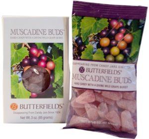 Muscadine buds traditional hard candy